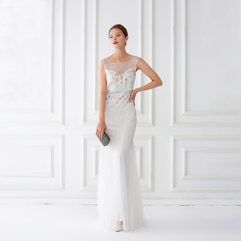 Mermaid Evening Dresses Floor Length Tulle Beaded Champagne  Evening Dresses Sleeveless Evening Dresses Long Vestido De FestaEvening  Dresses