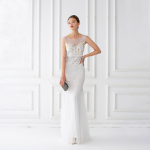 Mermaid Evening Dresses Floor Length Tulle Beaded Champagne Evening Dresses Sleeveless Evening Dresses Long Vestido De Festa