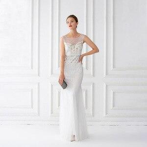 Image 1 - Mermaid suknie wieczorowe długość podłogi tiul zroszony suknie wieczorowe szampana suknie wieczorowe bez rękawów długie Vestido De Festa
