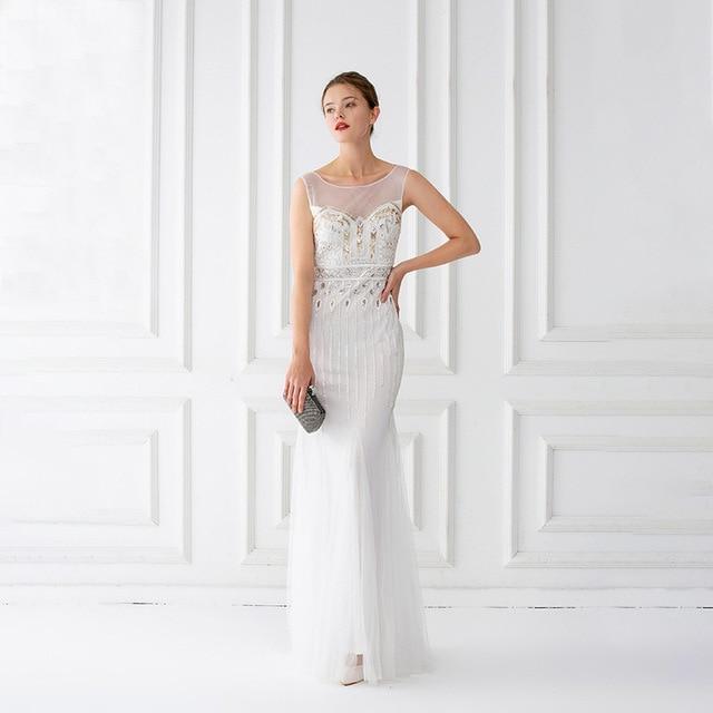 Mermaid suknie wieczorowe długość podłogi tiul zroszony suknie wieczorowe szampana suknie wieczorowe bez rękawów długie Vestido De Festa