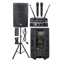STARAUDIO 4000W 15 DJ Powered Audio PA Active BT Speaker KTV Bar Stage Stand 2CH UHF Wireless Handheld Microphone System SHD 15