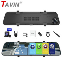 цена на TAVIN 12 inch Car DVR  Rearview Mirror Dash cam Full HD Touch screen car camera 1080P dvrs Dual lens video Recorder autoregister