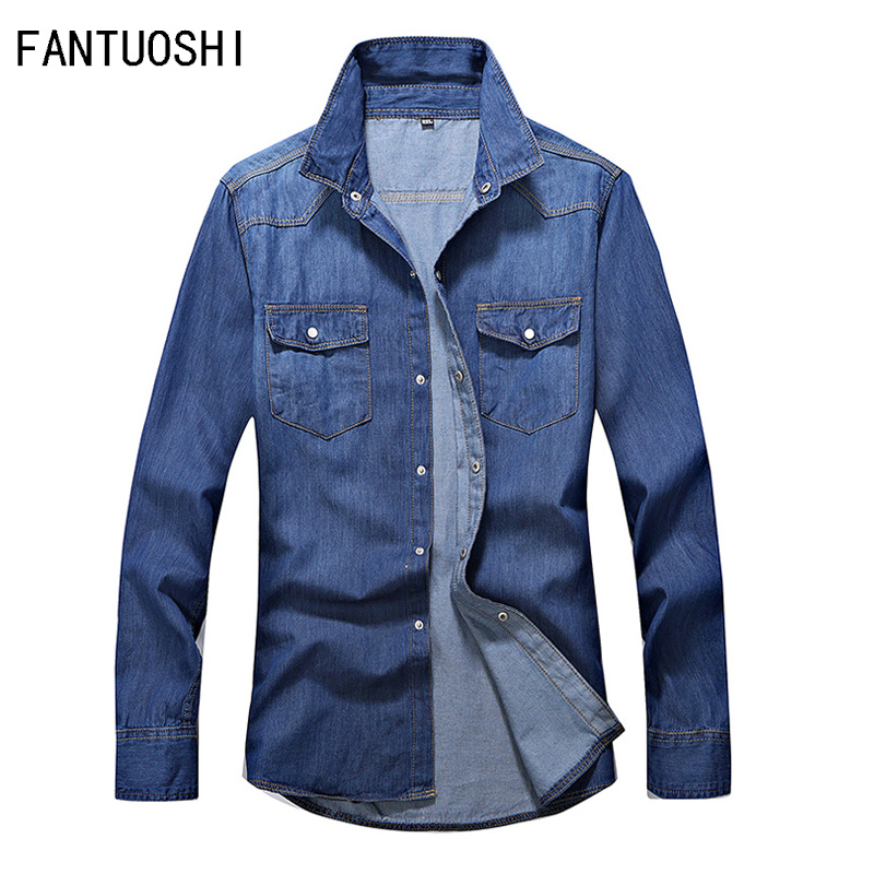 Men's Shirt 2019 Autumn New Cotton Denim Shirt Men's Long Sleeve Slim Solid Color Casual Single Breasted Shirt Men's Clothing