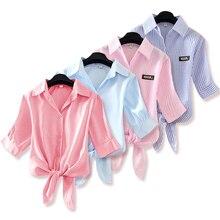 Women Shirt Pink White Yellow Plus-Size Fashion Spring Blusas Blue Top Front-Tie New