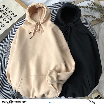 Woman's Solid 12 Colors Korean Hooded Sweatshirts Female Cotton Thicken Warm Hoodies Lady Autumn Fashion Tops Women Sweatshirts & Women Hoodies