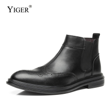 YIGER New Men ankle boots man Chelsea autumn winter Heightening shoesTrendy Bullock Man Boots casual male 0167