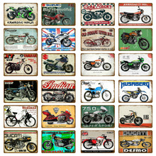 Classic Motorcycle Plate Garage Decorative Plaque Metal Signs Motor Brand Vintage Tin Sign Man Cave Wall Collection Decor YJ195