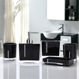 Image 2 - 5 Pcs Set Soap Box Lotion Bottle toothbrush holder Cup Bathroom Wash Set Modern Wash Accessories Acrylic Bathroom Supplies 0908A