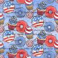 O gelado do lollipop da rosquinha julho 4th de julho bandeira retalhos pano, diy costura estofando material para o bebê & a tela da criança