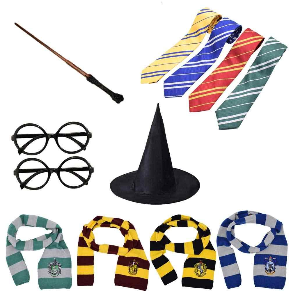 Szata peleryna płaszcz z krawatem szalik różdżka Potter okulary Ravenclaw Gryffindor Hufflepuff Slytherin kostium dorosły Potter Cosplay