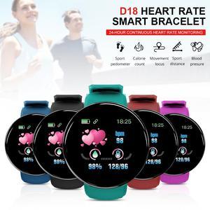 Reloj inteligente D18 para hombre y mujer, deportivo con control del ritmo cardíaco y de la presión sanguínea, Bluetooth y resistente al agua