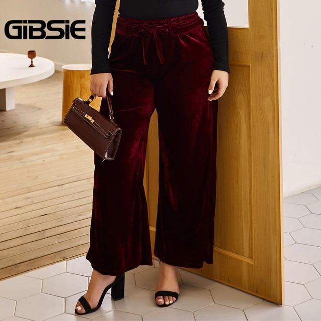 GIBSIE Autumn Winer Solid Velvet Wide Leg Pants Women Plus Size Ruffles High Waist Trousers Casual Ladies Big Size Belt Pants 3