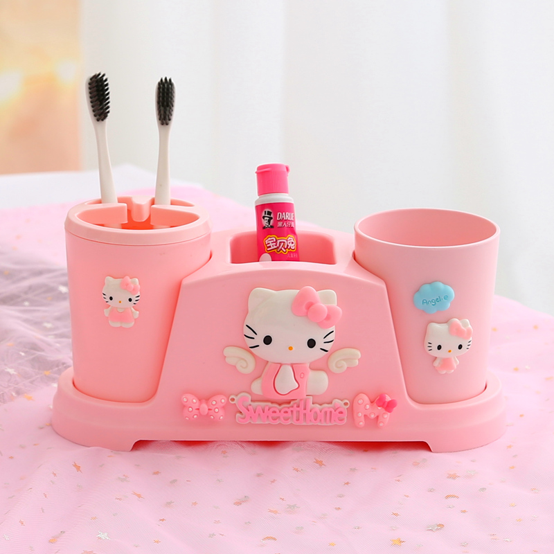 Hello kitty Cartoon toilet children's lovers red mouthwash Cup kid toothbrush holder cover set table cute bathroom accessories image