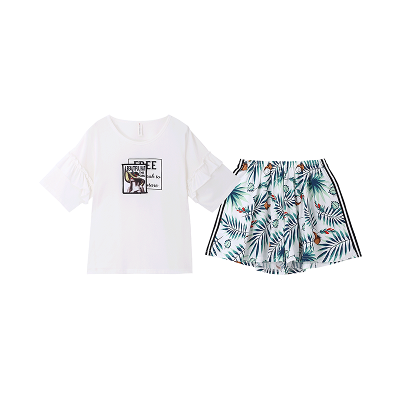 Fenteng Zomer Pyjama-Sets Casual Gedrukt Pak Vrouwen Korte Mouwen 100% Katoen Homewear Vrouwelijke Nachtkleding 2 Pcs P98021645