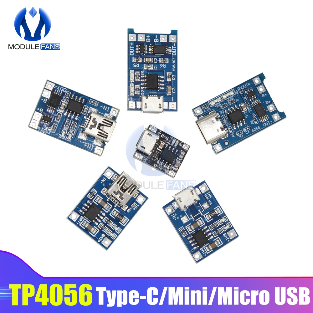 5PCS/set Type-c/Micro/Mini USB 5V 1A 18650 TP4056 Lithium Battery Charger Module Charging Board Dual Functions 1A Li-ion