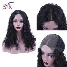 SYK волосы на шнуровке человеческие волосы парики предварительно выщипанные 4*4 Кружева Закрытие парик бразильские волосы глубокая волна парик для черных женщин 150% Плотность