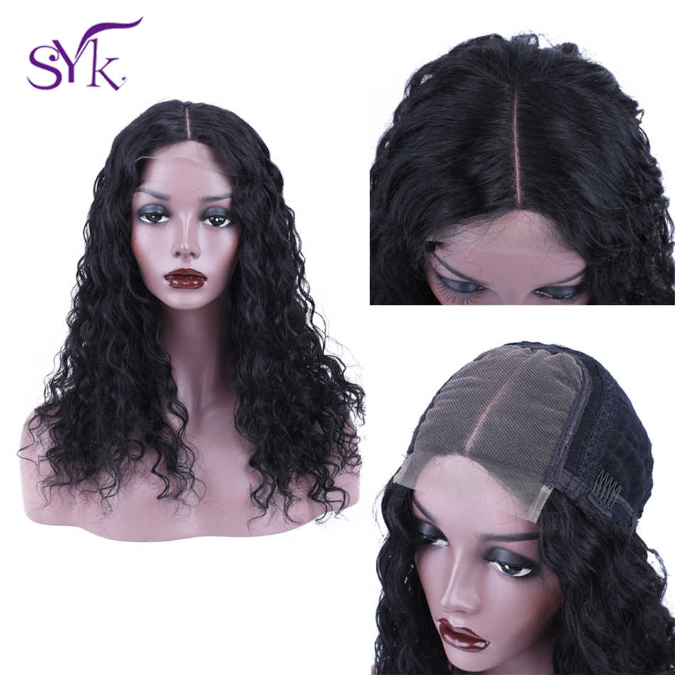 SYK HAIR Lace Closure Human Hair Wigs Pre-Plucked 4*4 Lace Closure Wig Brazilian Hair Deep Wave Wig For Black Women 150% Density