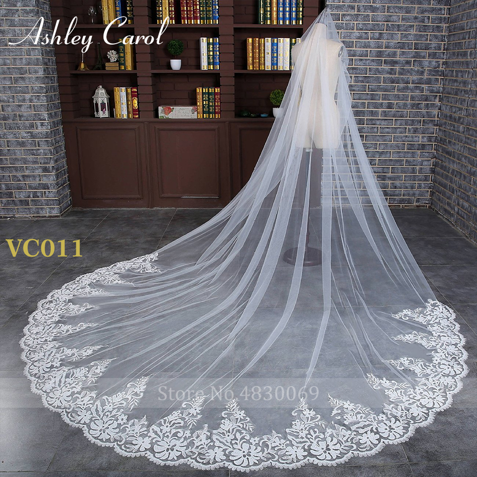 Ashley Carol Customized Wedding Veil Applique Edge With Comb Wedding Accessories White Ivory Custom Made Bridal Veils