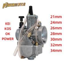 Universal koso oko carburador de motocicleta, 2t 4 tcarburador pwk 21 24 26 28 30 32 34mm com potência jato para corrida moto