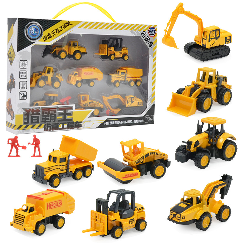 8pcs/set Construction Toys Set Excavator Toy Vehicles Dump Truck Road Cars Toy Model Monster  Buggy Off-Road Cool Boy Kids Gifts