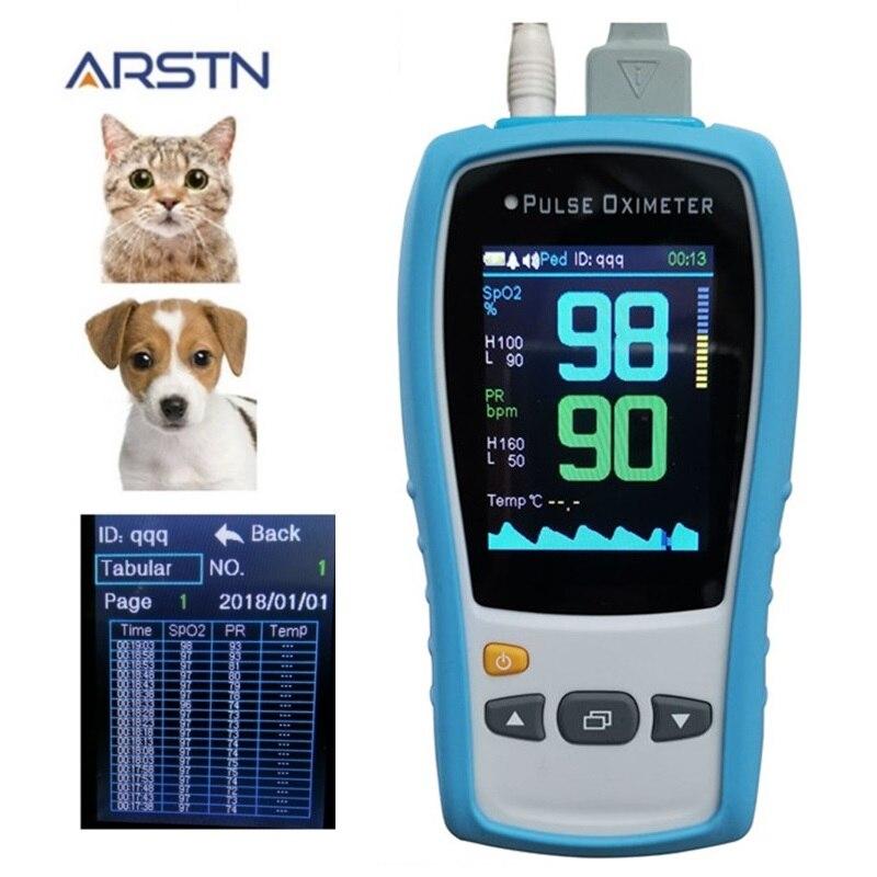 Ce handheld veterinário do pulsioximetro do monitor da frequência cardíaca de spo2 pr de 2.8 tft lcd com ponta de prova opcional do temp