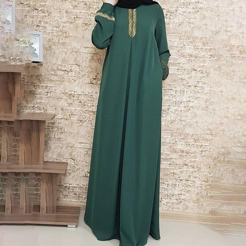 2021 New Women's Fashion Muslim Dress Vintage Islamic Loose Clothing Elegant Dubai Turkish Long Sleeve Party Dresses