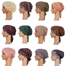 새로운 여성 이슬람 내부 모자 인도 비니 탈모 레이스 모자 터번 이슬람 Headscarf 이슬람 Chemo 암 Headwar 숙녀
