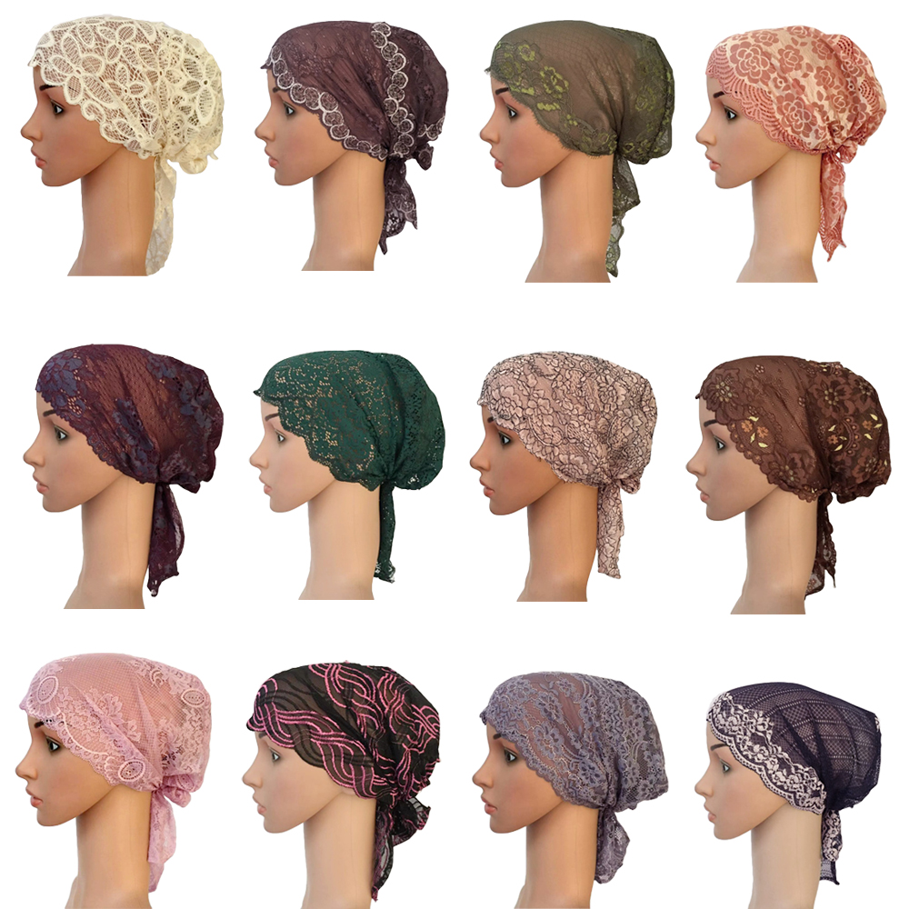 New Women Muslim Inner Hat Indian Beanie Hair Loss Lace Cap Turban Islamic Headscarf Islamic Chemo Cancer Headwar Ladies