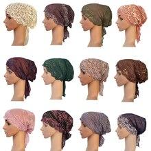 Nowe kobiety muzułmańskie wewnętrzny kapelusz Indian Beanie utrata włosów koronkowa czapka Turban islamska chustka na głowę islamska Chemo Cancer Headwar Ladies