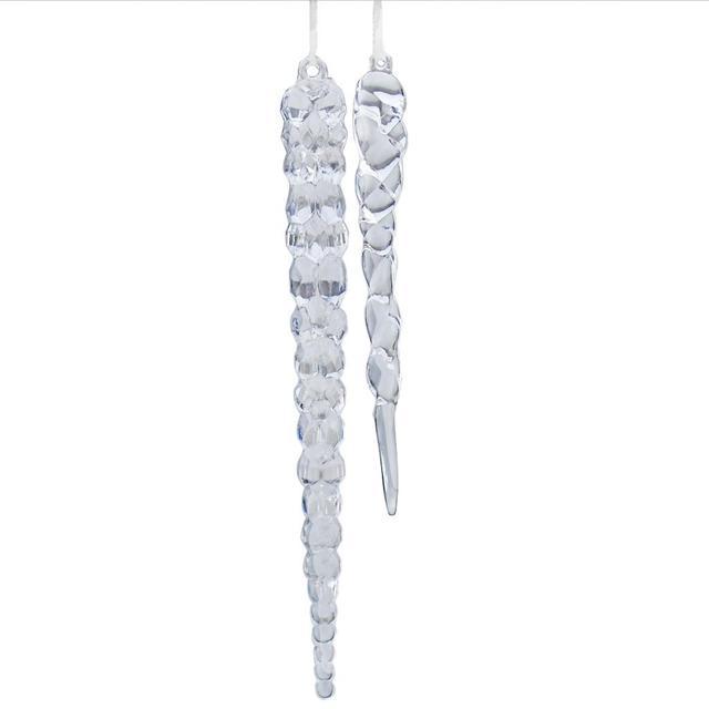 Icicule clair 12 pièces 12 pièces   Ornements en acrylique, décoration de cristaux suspendus pour arbre de noël, 12 & 15cm
