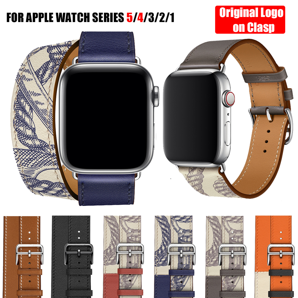 Herm Logo Swift Leather Double Single Tour Watch Band Strap For Apple Watch Series 5 4 3 2 1 44/40MM 42/38MM For IWatch Bracelet