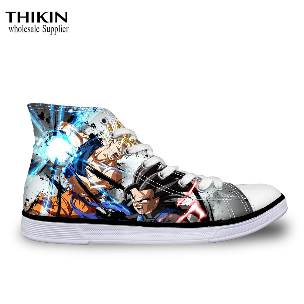 THIKIN Dragon Ball Anime Print <font><b>3D</b></font> Fashion Male Flats <font><b>Shoes</b></font> Autumn Lace Up Comfortable High Top Canvas <font><b>Shoes</b></font> Classic Boy Sneakers image