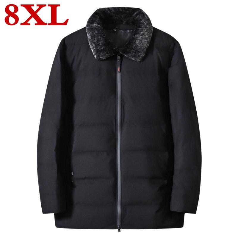 Plus Size 8XL 7XL Winter Ultralight  Duck Down Men's Brand Clothing 90% White Duck Down Jackets Stand Collar Seamless Warm Parka