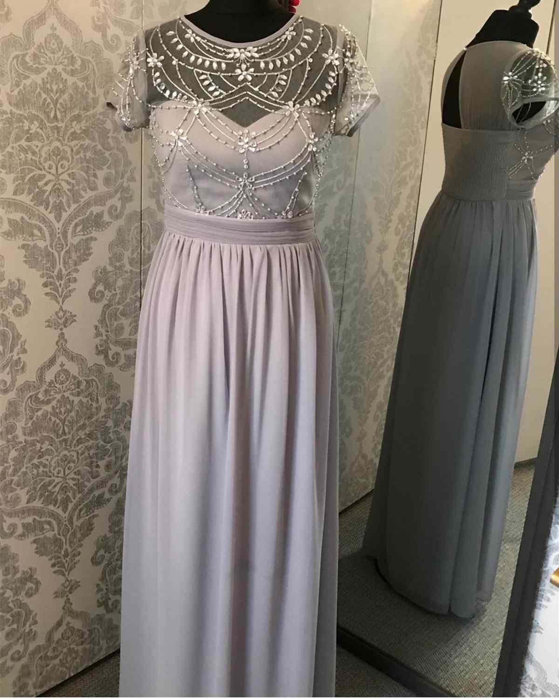 2020 ארוך אונליין נשף שמלת O-צוואר שיפון קריסטל חרוזים מקיר לקיר אורך אלגנטי קפל אירוע מיוחד שמלת vestido דה festa