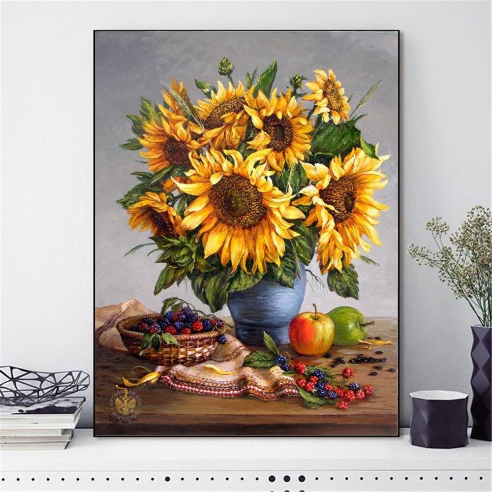 Flores Bordados de Algodão Fio Pintura HUACAN 14CT DIY Cross Stitch Kits Needlework Casa Decoração
