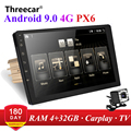 2 din Android 9.0 Octa Core PX6 Car Radio Stereo GPS Navi Audio Video Player 4G Wifi BT HDMI Carplay TV OBD DAB+ SWC 4G+32G
