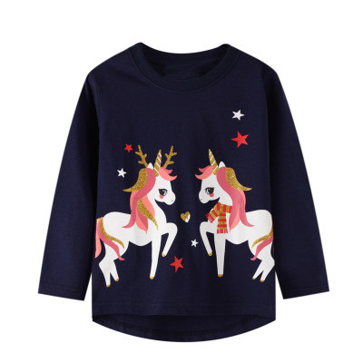 VIDMID baby Girls cotton long sleeve unicorn t-shirts baby kids cartoon casual clothes 2-7 years children t-shirts clothing W01 3