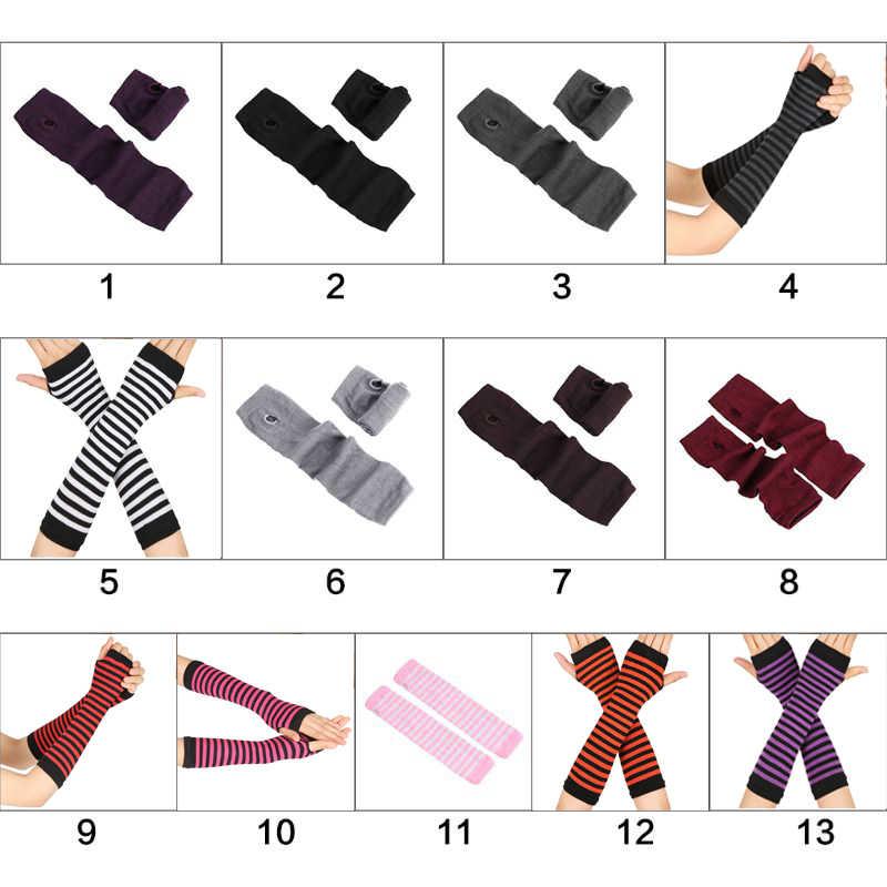 SISHION sonbahar bilek kol el kol ısıtıcıları örme parmaksız eldiven uzun kollu yumuşak çizgili dirsek eldiven SP0527