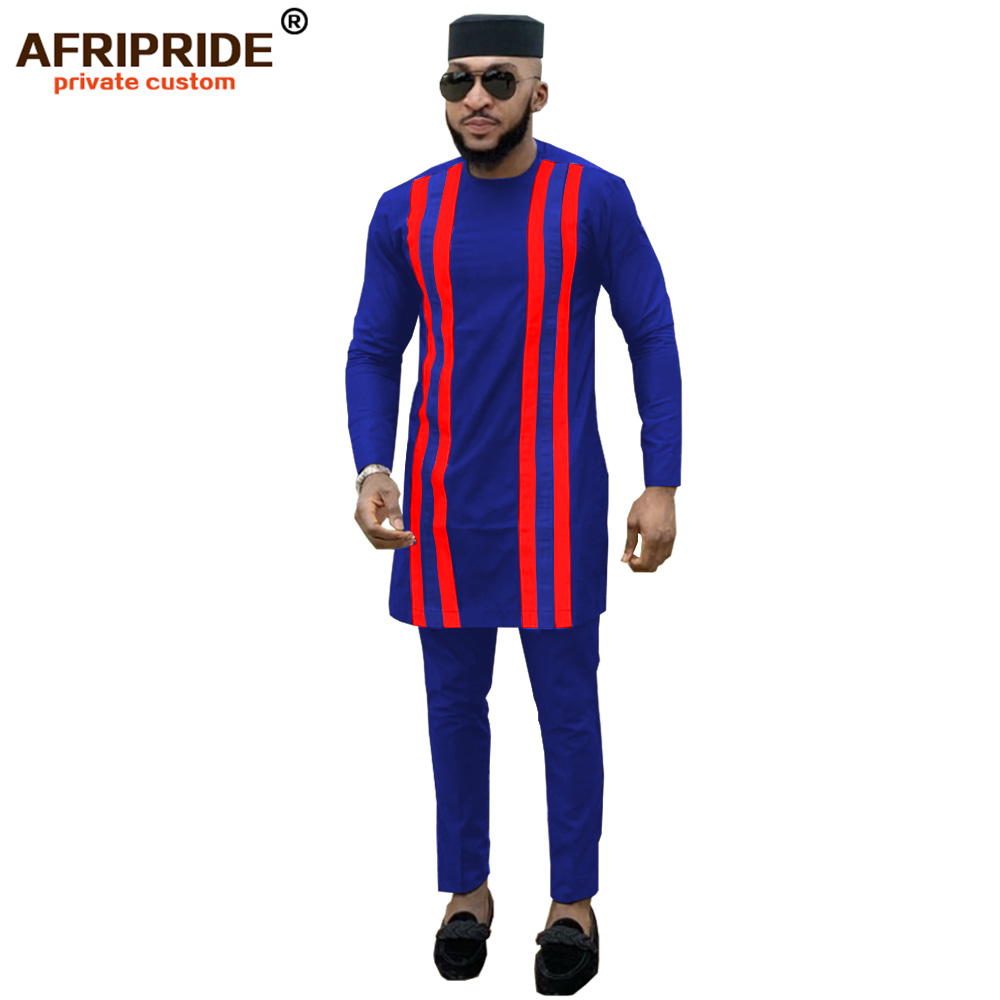 2019 African Men Clothing 3 Piece Outfit Shirt+pant+hat Tribal Blouse Dashiki Tops Print Clothes Plus Size AFRIPRIDE A1916006