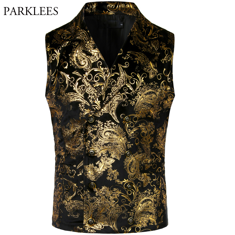 Victorian Steampunk Gold Vest Men Double Breasted Cosplay Costume Slim Fit Paisley Wedding Party Mens Dress Vests Waistcoat XXL