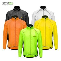 WOSAWE Ultralight Reflective Men's Cycling Jacket Long Waterproof Windproof Road Mountain Bike MTB Jackets Bicycle Windbreaker