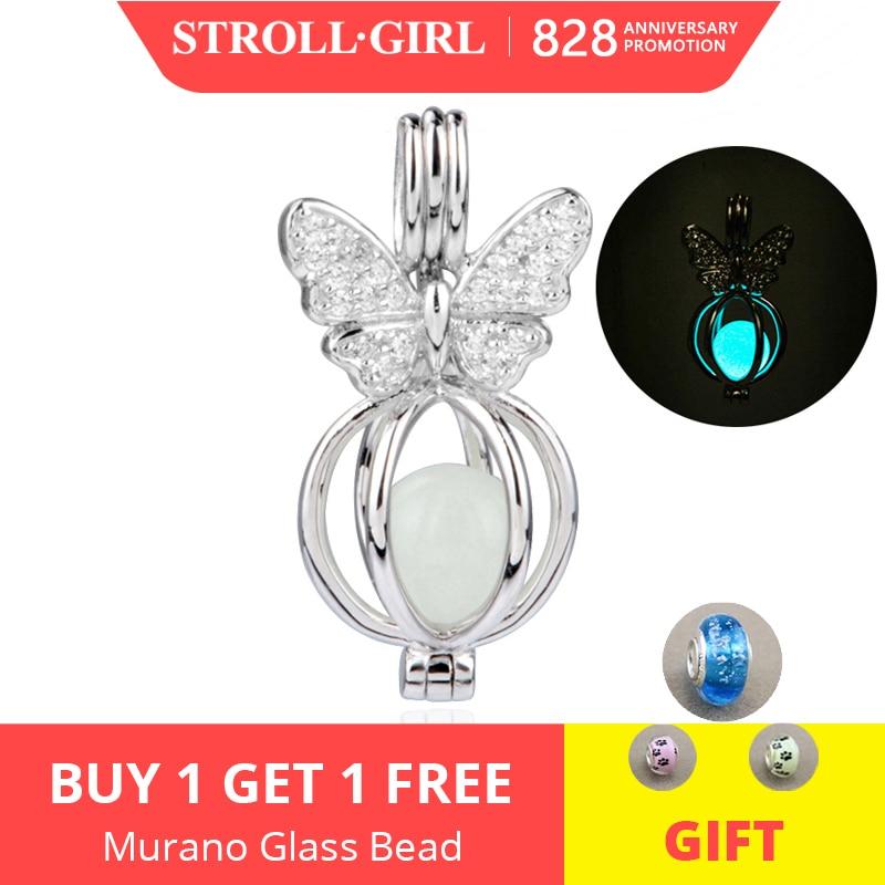 Charms-Beads Bracelets Pendant Butterfly Luminous Original Pandora Jewelry 925-Silver