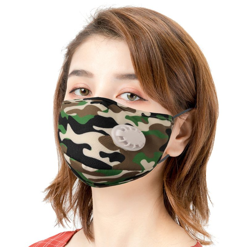 Reusable Camouflage Mouth Mask With Breathing Valve Replaceable Filter Activated Carbon Pad Face Protective Cover
