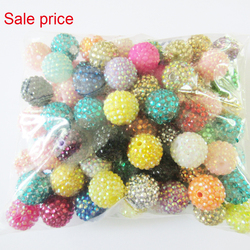 Sale Price ! Wholesale 20mm 100pcs/bag Random Mixed Resin Rhinestone Beads For Fashion Necklace/Jewelry