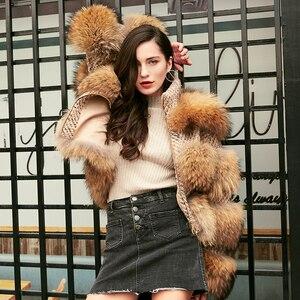 Image 2 - Oftbuy 2020 Winterjas Vrouwen Parka Echte Bontjas Natuurlijke Wasbeer Bont Wollen Jas Bomberjack Koreaanse Streetwear Nieuwe Oversized