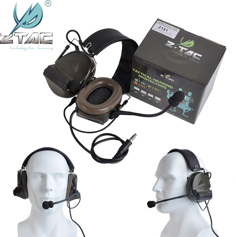 Z-Tac Tactical Headphones Peltor Comtac II No Noise Canceling Airsoft Communication Military Tactical Headset For Walkie-talkie-0