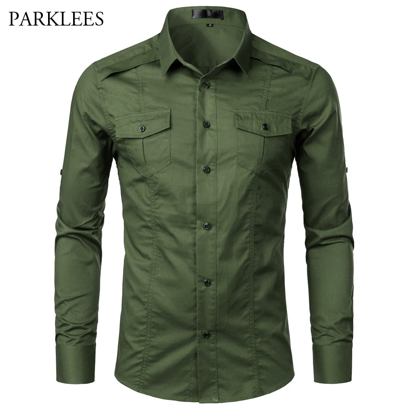 Tactical Style Mens Cargo Shirts Spring Brand New Long Sleeve Twill Work Shirts With Pocket Men Casual Slim Fit Chemise Homme