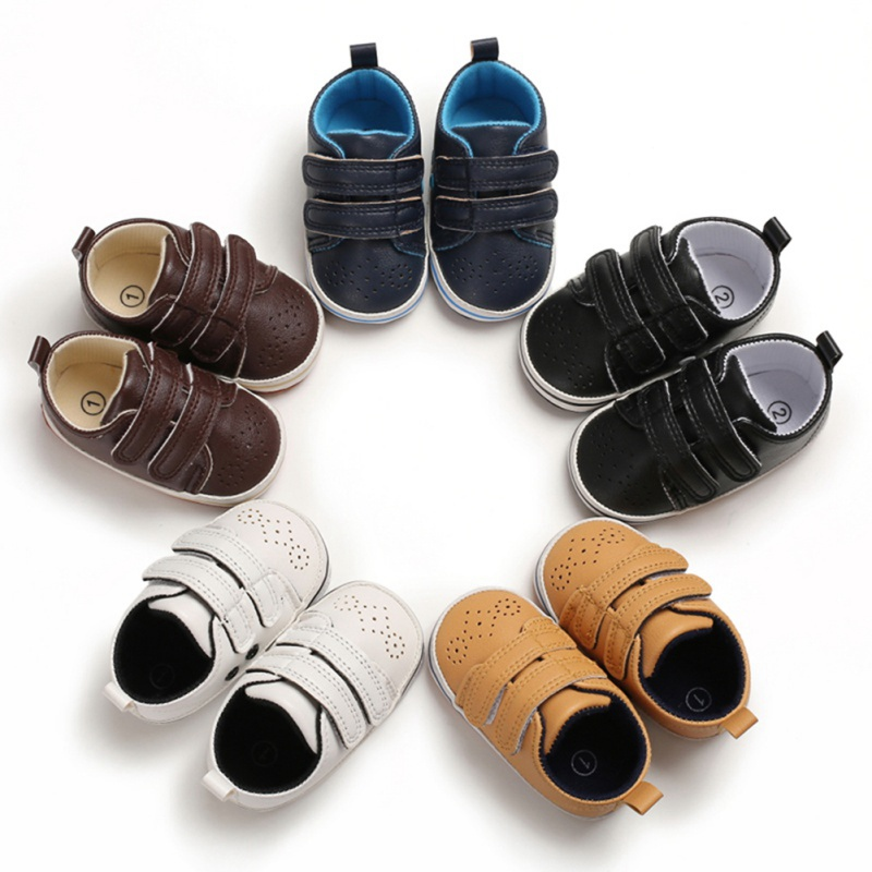 2019 Autumn Fashion PU Leather Toddler Anti-Slip Shoes Casual Sneakers First Walkers Shoes For Baby Boys Toddler Tennis Shoes