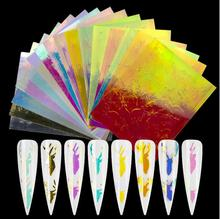 3D DIY Nail Art Stickers Fire Leaves Butterfly Laser Holographic Transfer Foil Water Decals Sets Nail Decorations Tips Wraps flame holographic decals nail art transfer sticker paper nail art decorations laser holo holographic gold 3d nail stickers