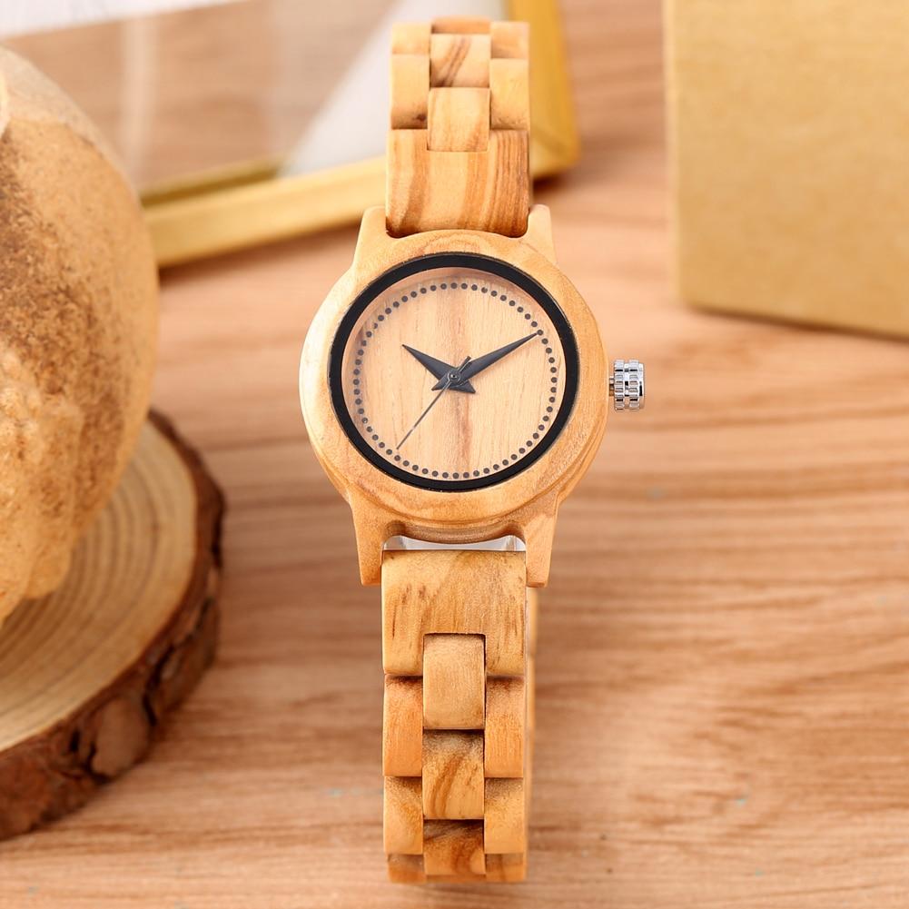 Minimaliste femmes montre à Quartz en bois marron bracelet de montre en bois arabe numéro cadran dame montre cadeaux pour fille femme maman Reloj Mujer